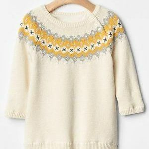 BabyGAP Baby GAP Ivory Fair Isle Sweater Dress